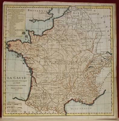 France Gallia Under Julius Caesar 1745 D'anville Antique Copper Engraved Map