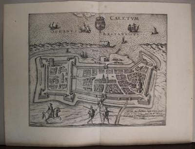 Calais France 1597 Braun/hogenberg Unusual Antique Copper Engraved City View