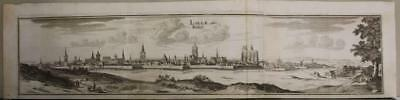 Lille France 1655 Matthaus Merian Unusual Antique Copper Engraved City View