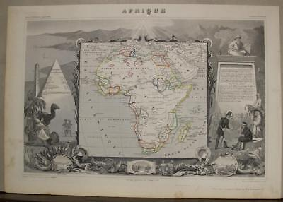 African Continent 1852 Victor Levasseur Antique Original Steel Engraved Map