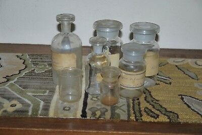 Vintage Collectable Glass Lab Jars Job Lot Pharmaceutical Bottles Glass Stoppers
