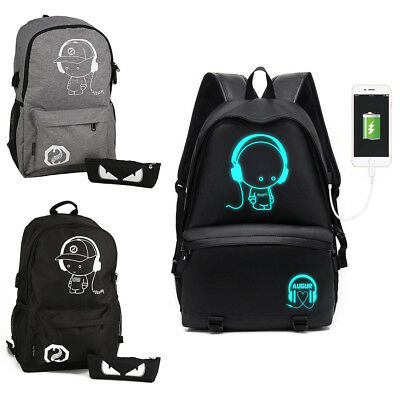 Anti-theft Backpack Luminous Casual School Travel Bags with USB Charging Port