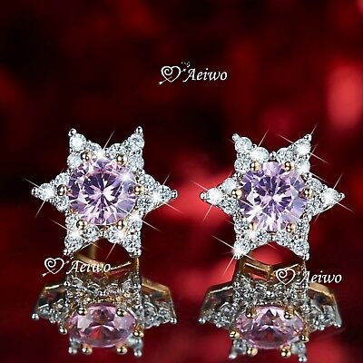 18K Yellow Gold Gf Star Of David Stud Made With Swarovski Crystal Earrings Pink