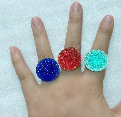 New Arrival 50pcs Lovely Mix colors Resin Cartoon round Princess women Rings