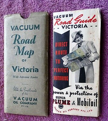Vintage Road Map Of Victoria 1938 Vacuum Oil Co Nice Collectable