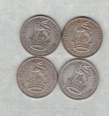 1932/1933/1934 & 1936 George V Shillings In Good Fine Or Better Condition
