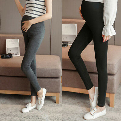 Pregnant WomenSolid High Waist Pants Over Bump Legging Maternity Trouser MO