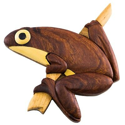 """Wood Intarsia Tree Frog Magnet 3"""" Handcrafted New!"""