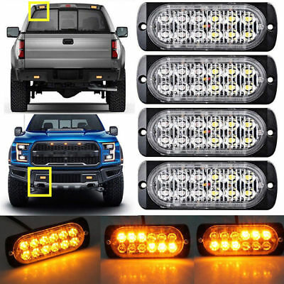 4x 12LED Amber Car Emergency Flashing Light vehicle Strobe Flash Warning 12/24V