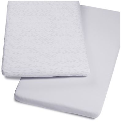 Snuz BEDSIDE CRIB 2 PACK FITTED SHEETS – WAVE MONO Baby Cot Bedding BN