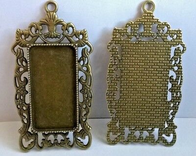 PICTURE FRAMES x 2 Dolls House Miniatures Crafts Jewellery F7087 ...