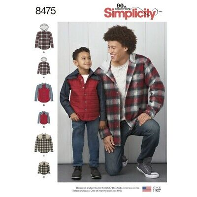 Boy's and Men's Shirt Jackets with Optional Hood Simplicity Sewing Pattern 8475