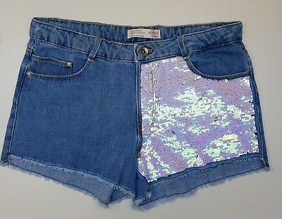 GIRLS` NEW ZARA SEQUIN DENIM SHORTS AGES 3 to 14