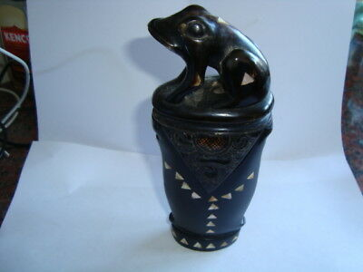 Rare? Antique Vintage Carved Horn Tribal Toad/frog Mother Of Pearl Container