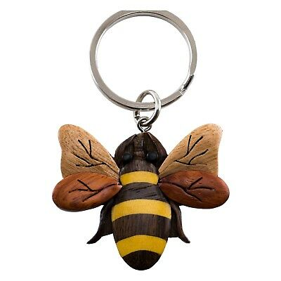 "Wood Intarsia Bee Bumblebee Keychain Key Ring Handcrafted 2"" Wide New!"