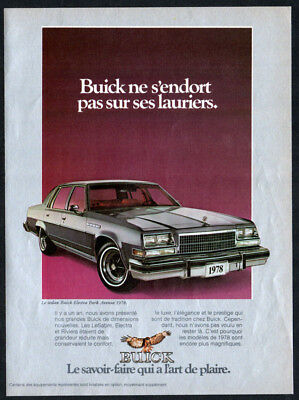 1978 BUICK Electra Park Avenue Vintage Original Print AD Sedan car photo Canada