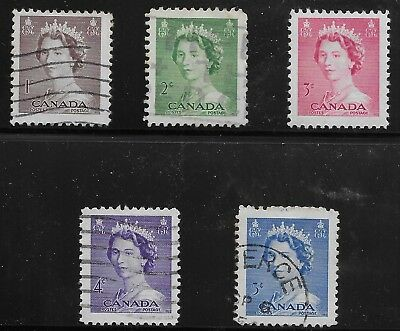 Canada Scott #325-29, Singles 1953 Complete Set FVF Used/MH