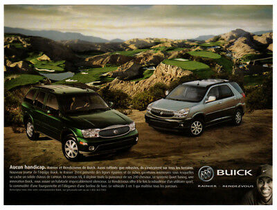 2004 BUICK Rendezvous & Rainier Original Print AD - Tiger Woods, golf Canada