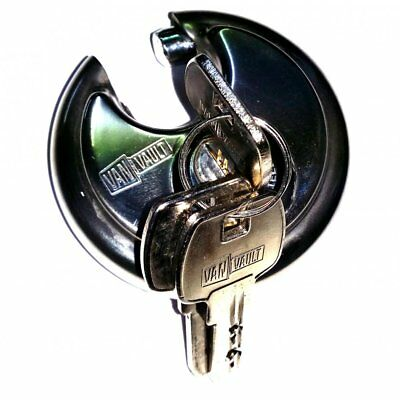 Lock Security Round Disc Vanvault S10029 Heavy Duty Padlock 3 Keys 70mm Secure