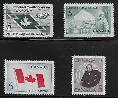 Canada Scott #437-40, Singles 1965 Complete Set FVF Used/MH
