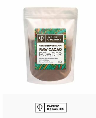 6 x 200g PACIFIC ORGANICS Certified Organic Raw Cacao Powder 1.2kg