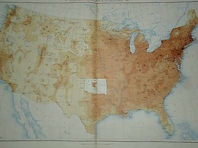 Vintage 1890 UNITED STATES MAP Distribution of Population - United States