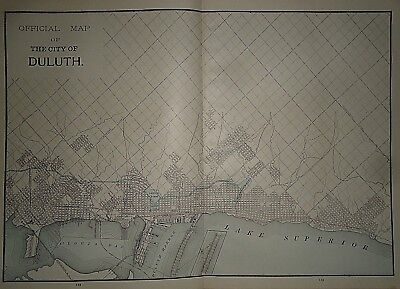 Vintage 1892 DULUTH, MINNESOTA MAP ~ Old Antique Original Atlas Map 030718