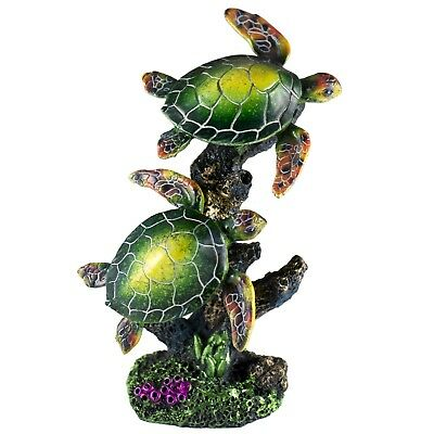 "Colorful Pair of Green Sea Turtles Figurine 7"" High Resin New!"