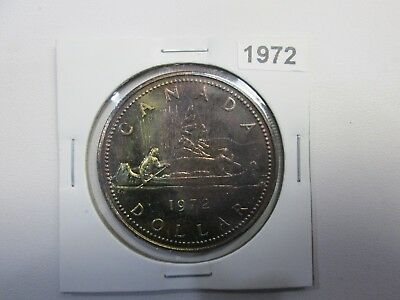 1972 Canadian Silver Proof Like One Dollar Coin - Rainbow Toning