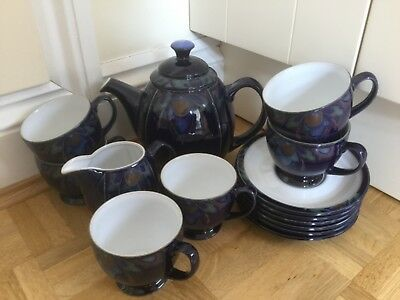 Stunning Tea Set by Denby, Baroque Design (Teapot/Jug/6 Cups+Saucers), Mint Cond