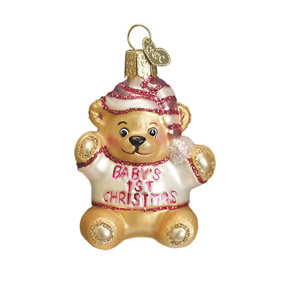 """Baby's 1st Teddy Bear"" (Pink) (12065)X Old World Christmas Glass Orn. w/ OWC Bx"