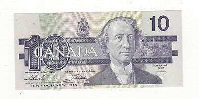 *1989*Bank of Canada BC-57a, $10 Thi/Cro Ser# ADX 4474657 & 4474658 Seq. Pair