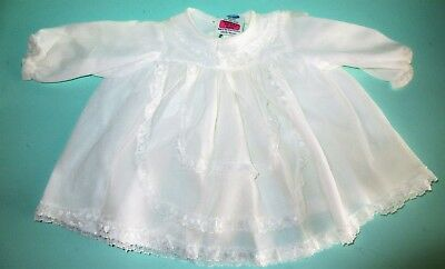 1970s Boots Vintage Baby Clothing White Girls Dress 3m