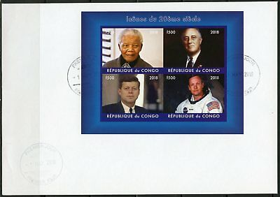 CONGO 2018  20th CENTURY ICONS MADELA ROOSEVELT KENNEDY ARMSTRONG IMPF SHEET FDC