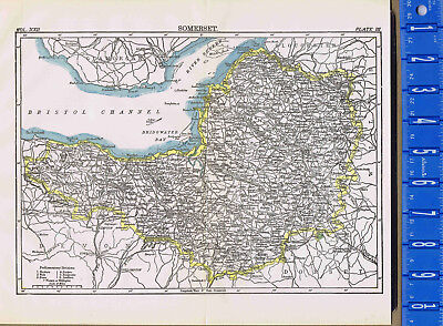 County of Somerset in England - Map Print -- 1907