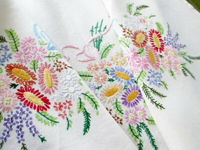 VINTAGE TABLECLOTH HAND EMBROIDERED BOUQUETS of COLOURFUL FLOWERS-LINEN