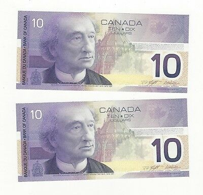 *2002*Bank of Canada BC-63b, $10 Kni/Dod Ser# FEL 8231835/36 Seq. Pair
