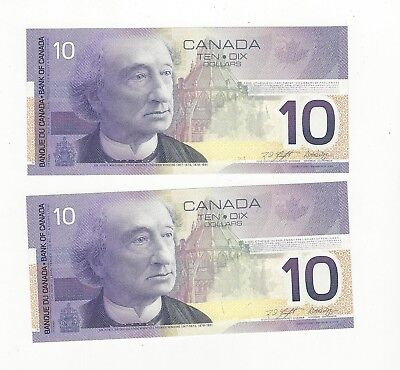 *2002*Bank of Canada BC-63b, $10 Kni/Dod Ser# FEL 2668247/48 Seq. Pair