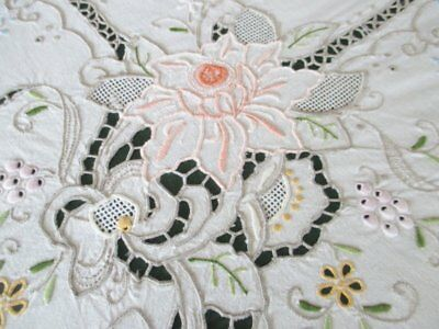 """Vintage Round Tablecloth-Madeira Hand Embroidered-62"""" Dia"""