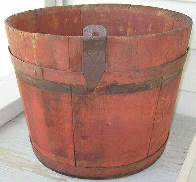 Antique Shaker Wooden Staved Sap Bucket W/2 Bands, Pointed Hook, Old Red Paint