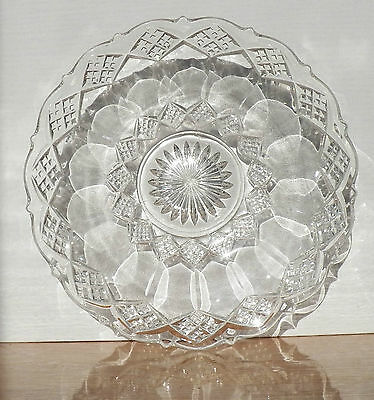 Diamond & Clear Shapes & Scalloped Edge Makes Up This Depression Glass Platter