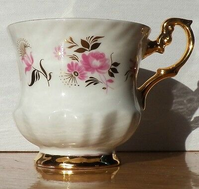 Rare Collectible Rosina Fine Bone China Footed Teacup White, Yellow Gold & Pink