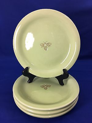 """POTTERY BARN Embossed BUMBLE BEE 8"""" Salad Dessert Snack PLATES Green SET OF 4"""