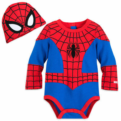 Disney Authentic Spiderman Avengers Baby Costume & Hat 0 3 6 9 12 18 24 Months