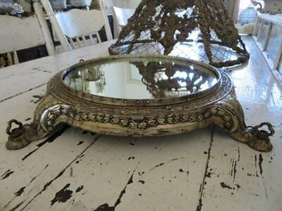 WONDERFUL Old Vintage PLATEAU MIRROR Large Ornate Footed Metal Base for DISPLAY