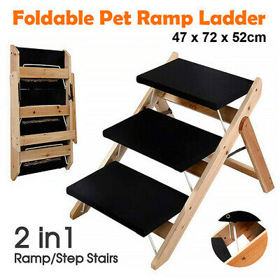 3 Steps Foldable Pet Dog Cat Ramp Portable 2-in-1 Stairs Ladder Cover Ozstock