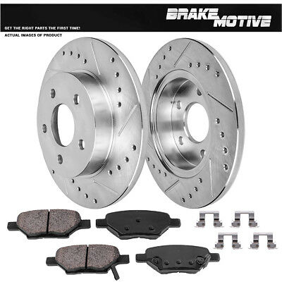 Front+Rear Drill Slot Brake Rotors And Ceramic Pads For Chevy Cobalt Malibu G6