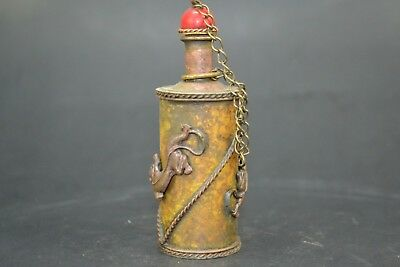 chinese Collectible Old Copper Handwork 2 Dragon Decor antique Snuff Bottle