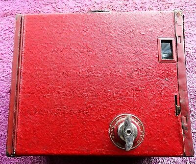 Vintage Box Brownie Camera Shutter Working Rare As Red Colour Nice Collectable