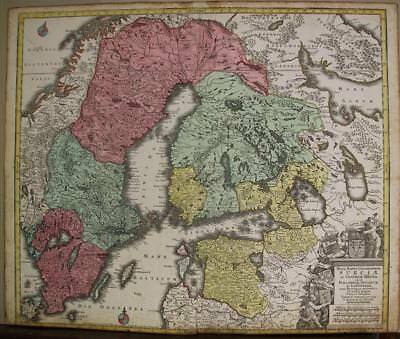 Sweden Finland Latvia  Norway Lapland 1740 Lotter Antique Copper Engraved Map